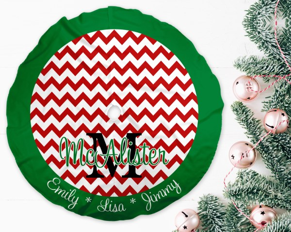 Chevron Red & Green Trim Christmas Tree Skirt
