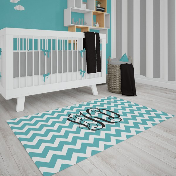 Chevron Gift Box Blue Area Rug