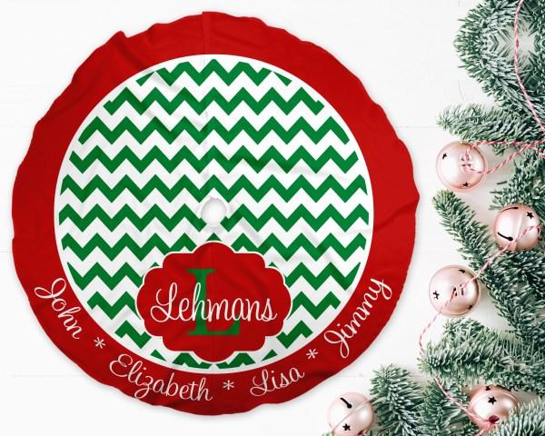 Chevron Green & Red Trim Christmas Tree Skirt