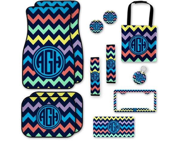 Multi Colored Chevron Car Accessories