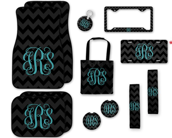 Black Chevron with Gift Box Blue Car Accessories