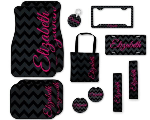 Black Chevron with Shocking Pink Car Accessories