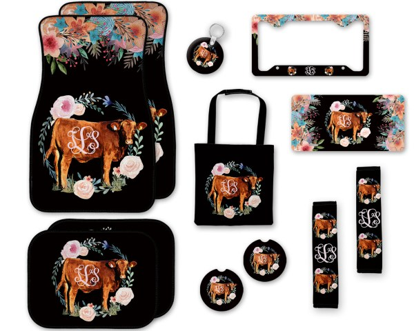 Cow Floral Car Accessories