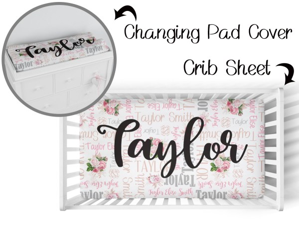 Flowers & Names Crib Sheet & Changing Pad Cover