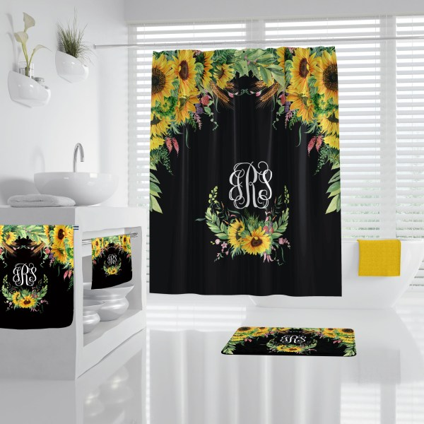 Sunflower on Black Bathroom Accessories