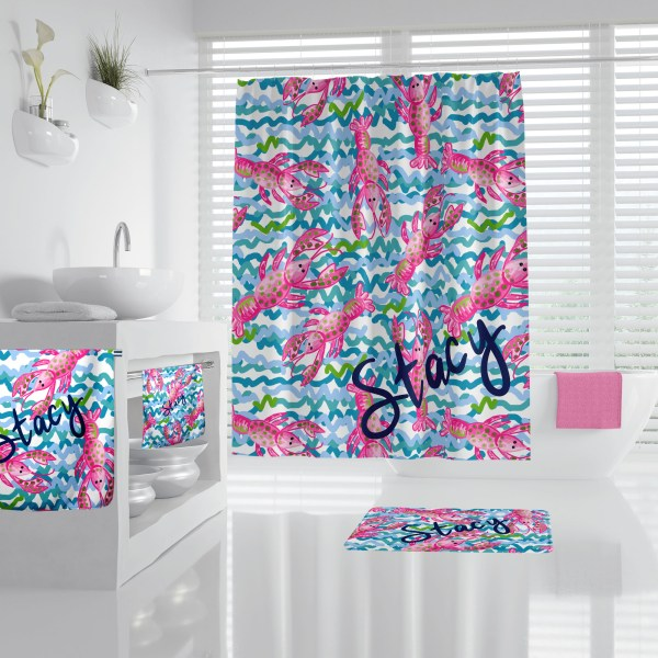 Lilly Inspired Lobster Bathroom Accessories