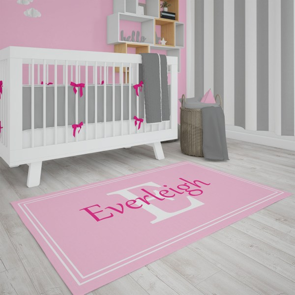 Pink Framed Area Rug