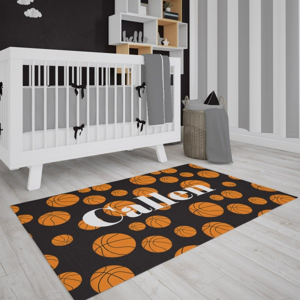 Basketballs on Black Area Rug