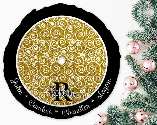 Swirls Black & Gold Christmas Tree Skirt
