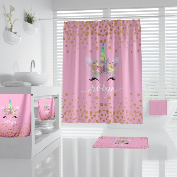 Unicorn Face on Pink Bathroom Accessories