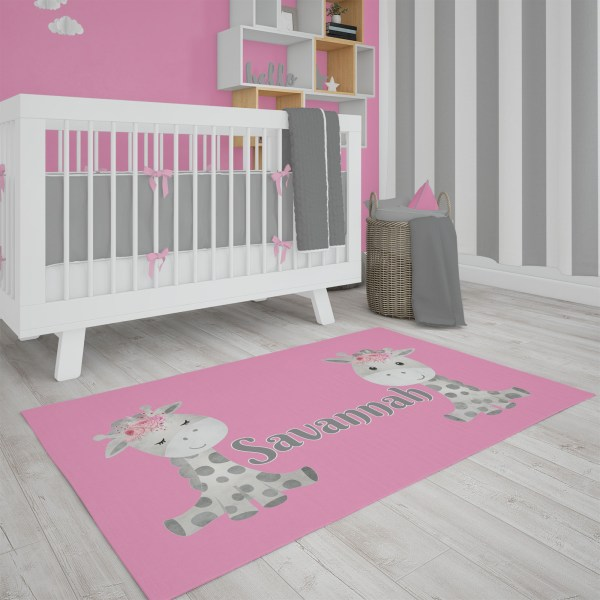 Giraffe on Pink Area Rug