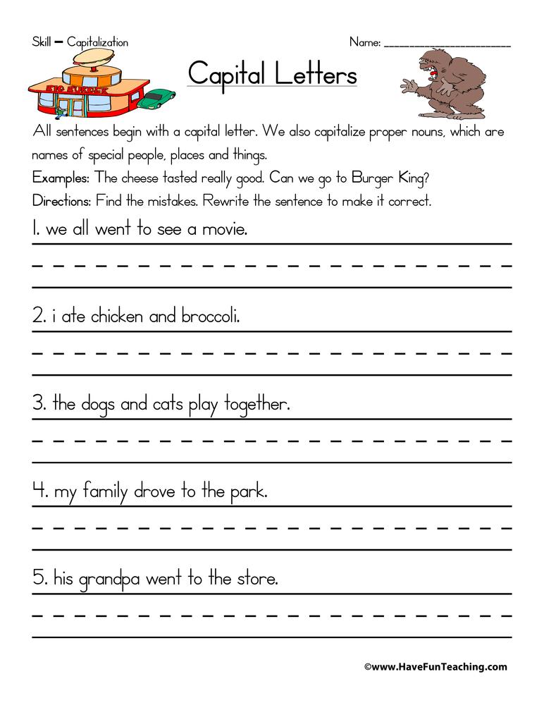 Resource  Second Grade  Capitalization Worksheet