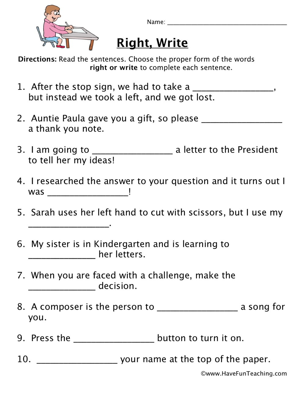 2nd Grade Homophones Worksheet : grade, homophones, worksheet, Right,, Write, Homophones, Worksheet, Teaching