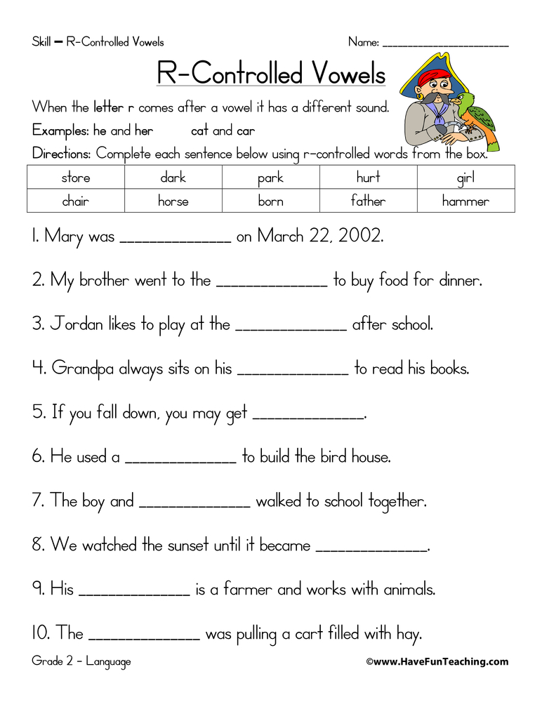 Rcontrolled Vowels Worksheet  Have Fun Teaching