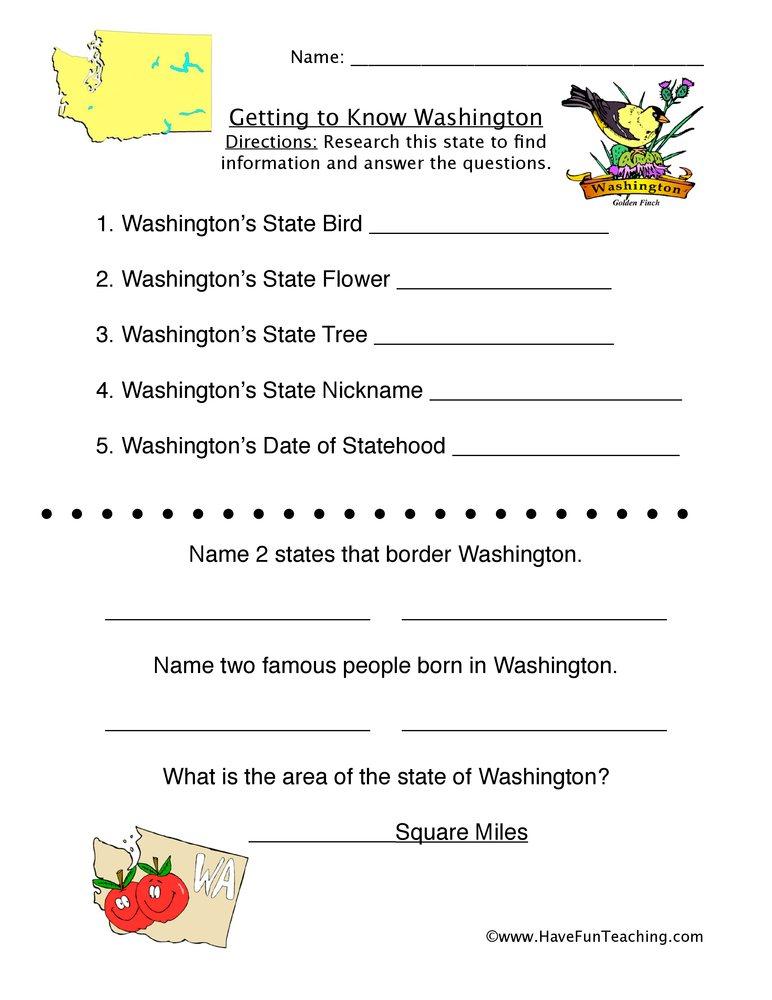 Washington Worksheets  Have Fun Teaching