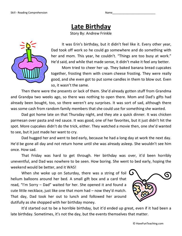 Late Birthday  Reading Comprehension Worksheet