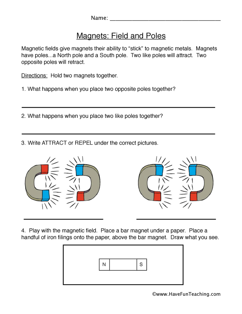 Magnets Worksheet  Fields And Poles