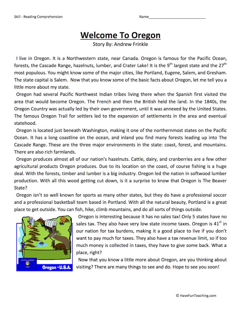 Welcome To Oregon  Reading Comprehension Worksheet