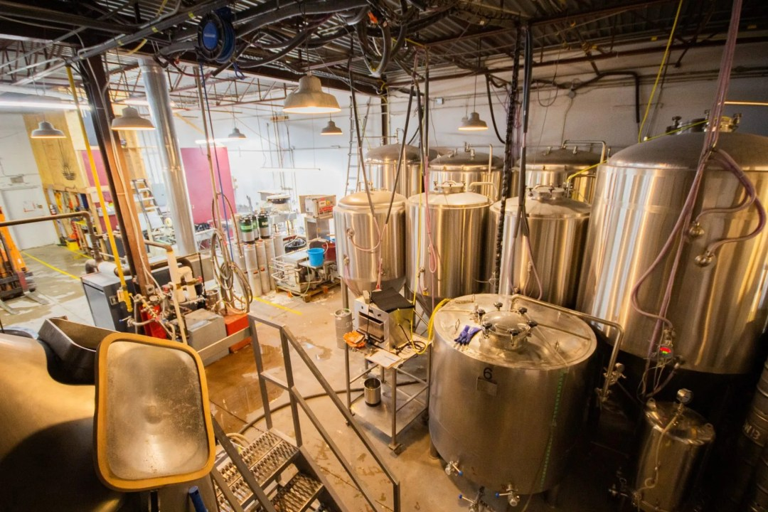 Picture of the brewing tanks taken from above
