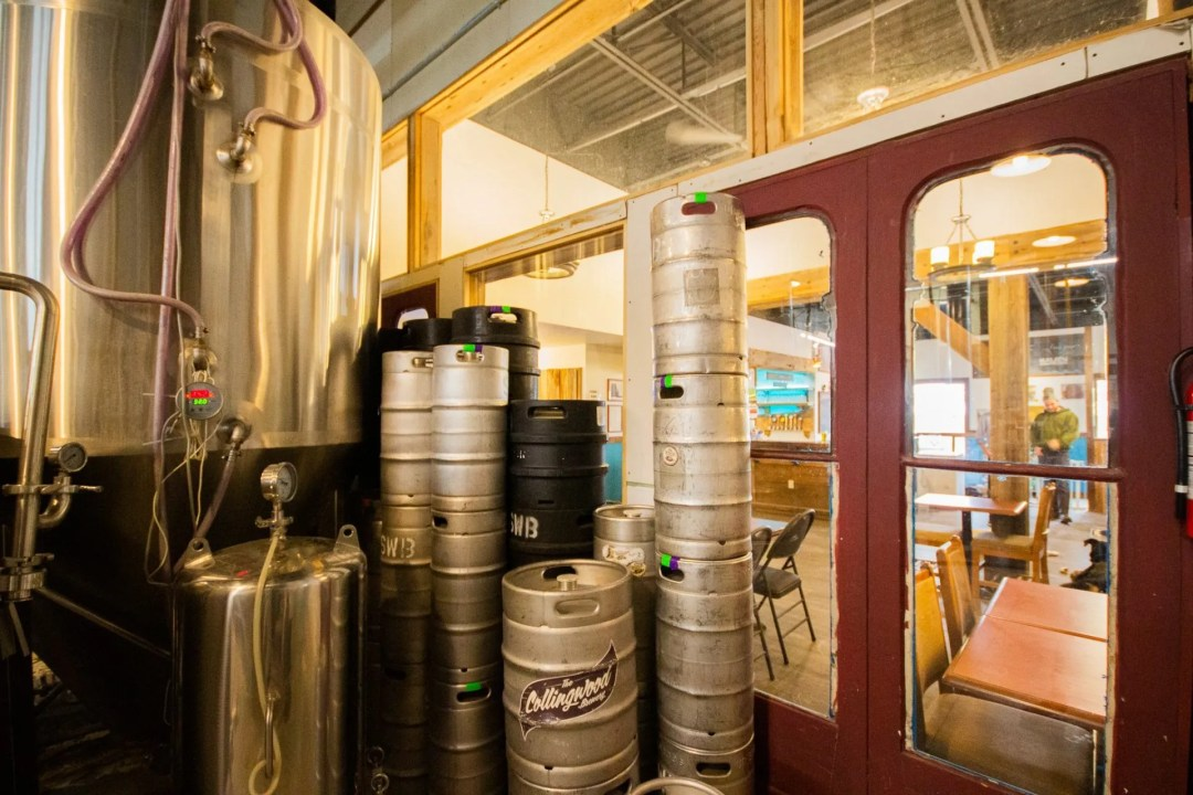 View of the taproom from inside the brewery