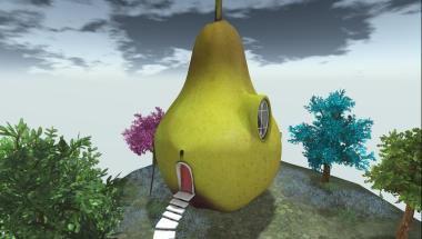 Yes, it's a pear! This small home has one large room inside plus one bedroom loft space. There's room outside on this floating island platform.