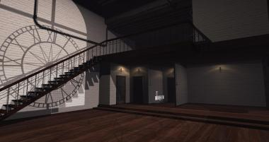 A clocktower skybox with one large room downstairs, one loft bedroom, and one bathroom off of the bedroom.