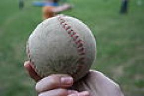 Used softball ball in Třebíč, Czech Republic.jpg