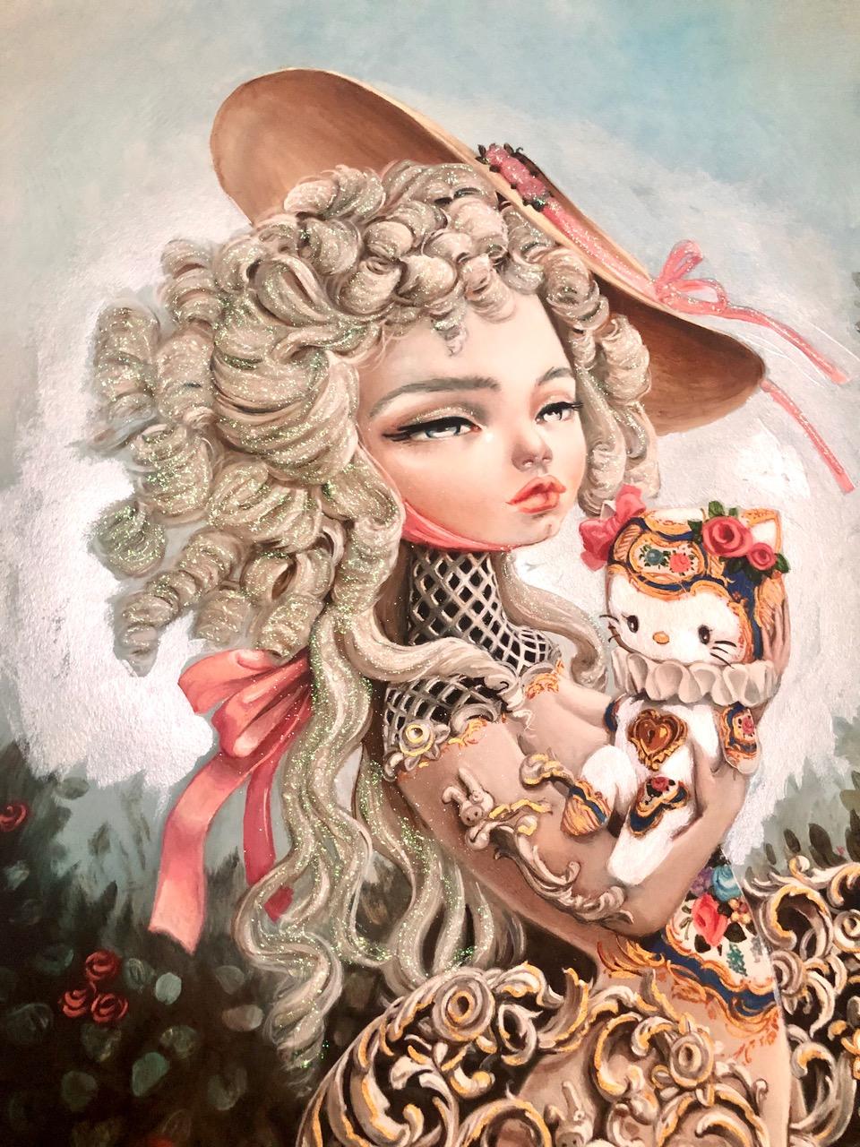 """KUKULA """"Rocokitty"""" Hand Embellished Print"""