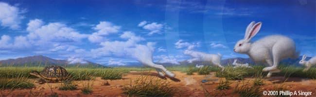 """Phillip Singer """"Tortoise And Hare"""" Print"""