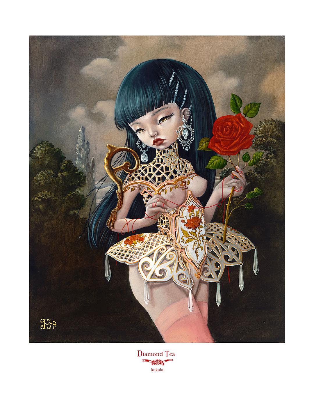 "KUKULA ""Diamond Tea"" Hand Embellished #1 Print"