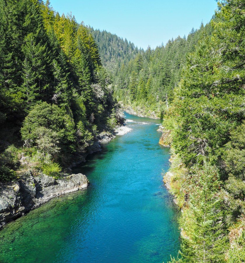 The striking blue-green waters of the Smith River cuts through the redwood covered hills of Jedediah Smith State Park.