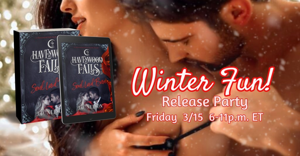 Join us for the celebration of the release of Soul Laid Bare, a steamy paranormal romance novella by JD Nelson, in the Havenwood Falls Sin & Silk Book Club on Facebook, Friday, 3/15, 6-11 pm ET.