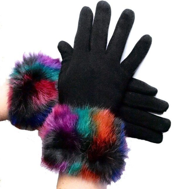 Black suede-effect touchscreen gloves with multi-coloured fur cuff
