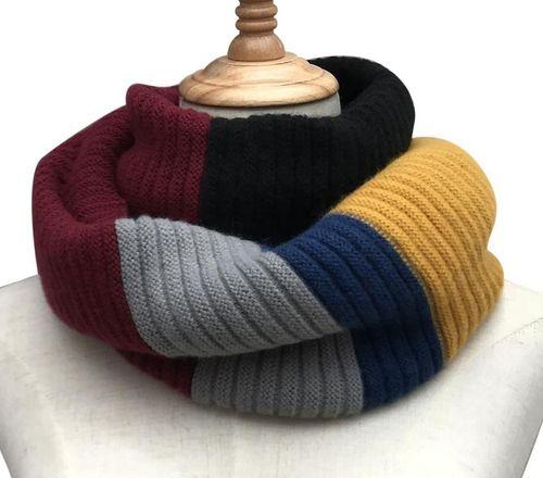 Mustard block stripe knitted snood