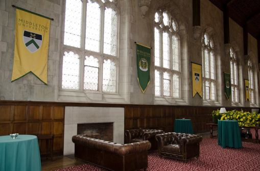 Thomas Great Hall, decorated with banners from the fictional Middleton University. Photo from Bryn Mawr College Class of 2018 Facebook Page.