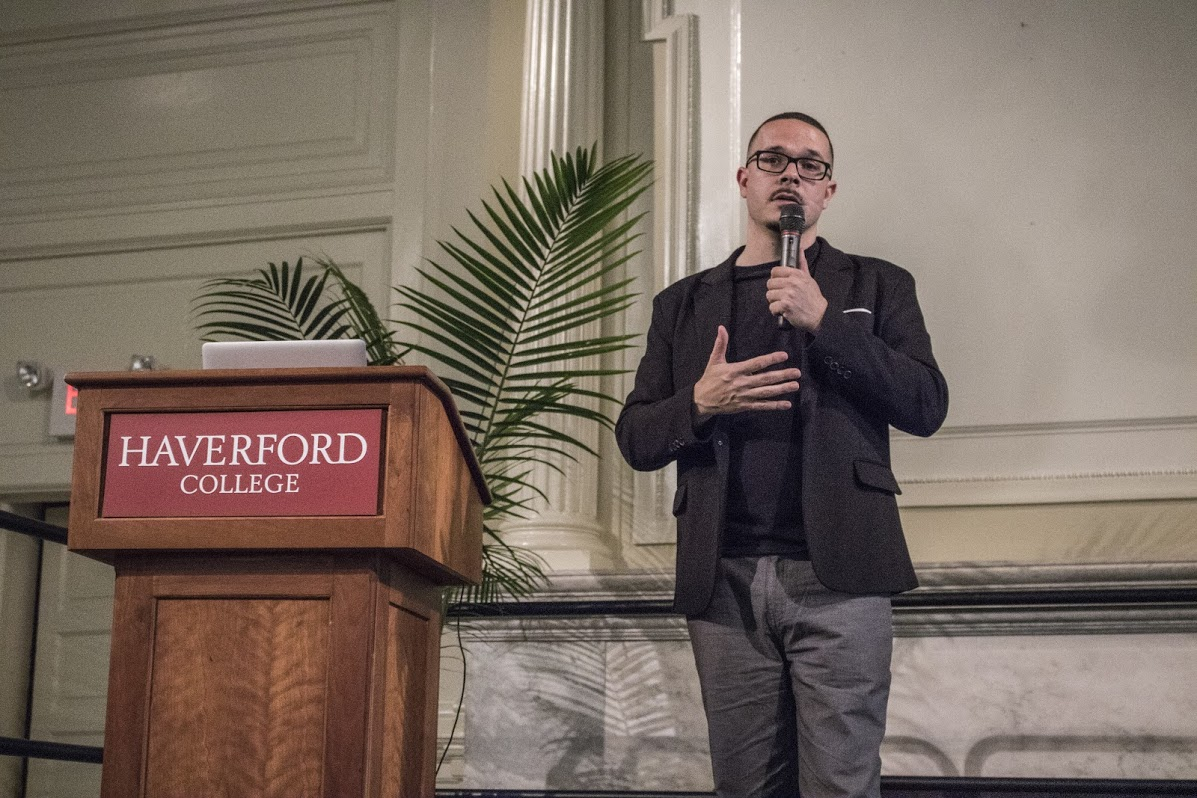 Shaun King spoke in Founders Great Hall. Photograph by Kate Silber.