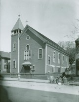 Picture of The first Advent Christian Church building, erected on Walnut Street in 1875. (photo circa 1916)