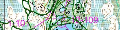Kartet mitt med veivalg fra Lygnaløpet