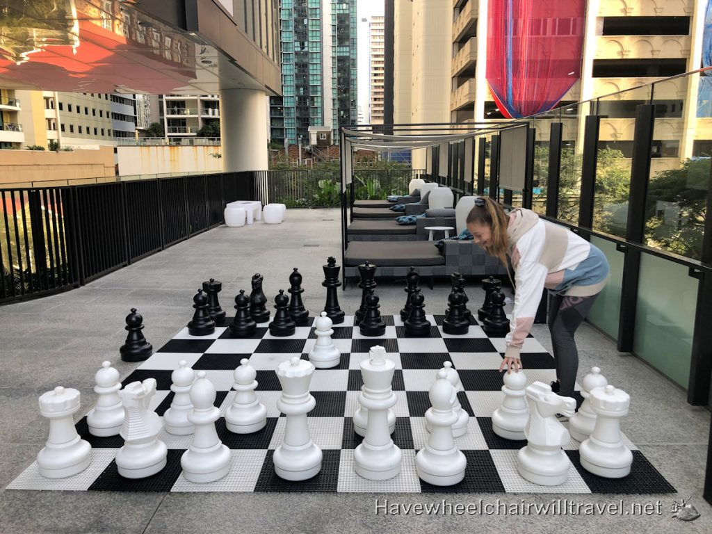 The Westin Brisbane - Large Chess Set for Family Fun on Queensland Holidays - Have Wheelchair Will Travel