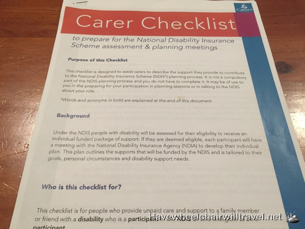 NDIS Carer Checklist Meeting Preparation Document - Tips to Prepare for your NDIS Meeting - Have Wheelchair Will Travel