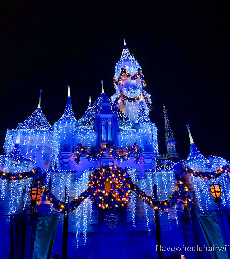 Christmas at Disneyland - Sleeping Beauty's Castle - Have Wheelchair Will Travel