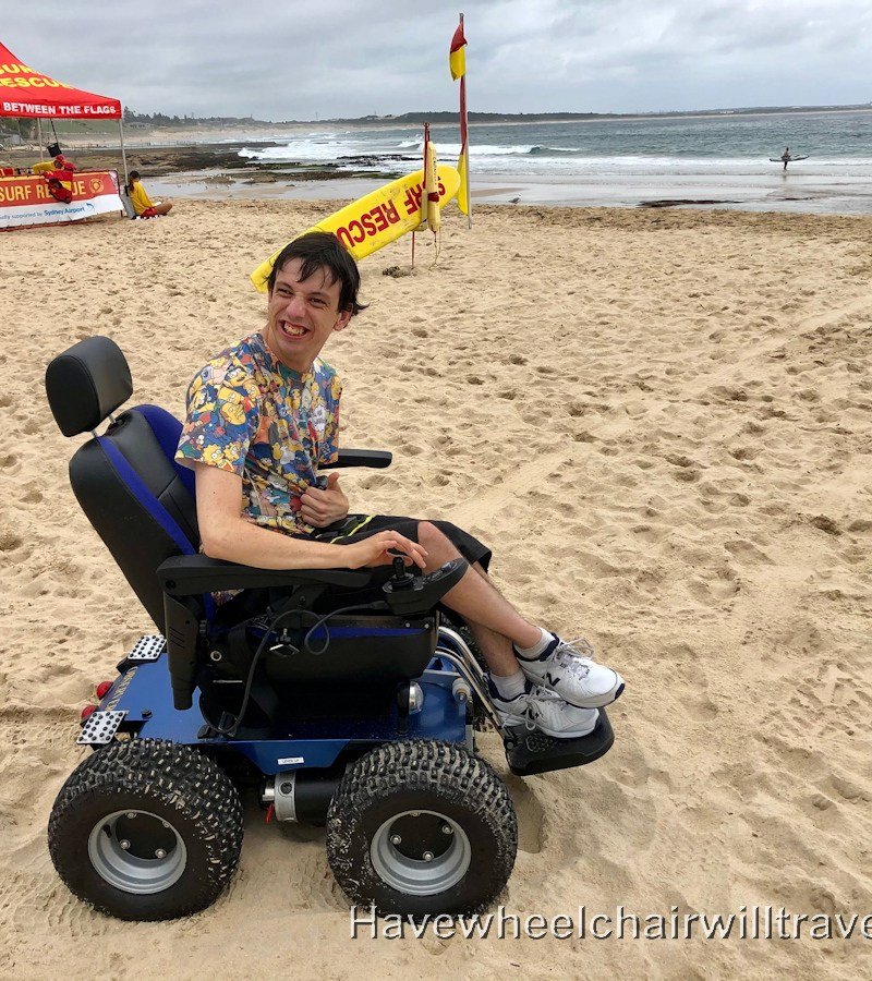 Cronulla Beach (South) - power beach wheelchair - Have Wheelchair Will Travel