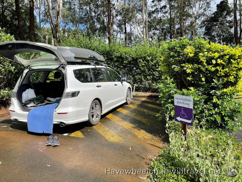 Crystal Castle & Shambala Gardens - wheelchair accessible parking - Have Wheelchair Will Travel