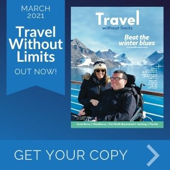 Travel Without Limits March 2021 Out Now - Text Alongside Image of Magazine Cover - Get Your Copy
