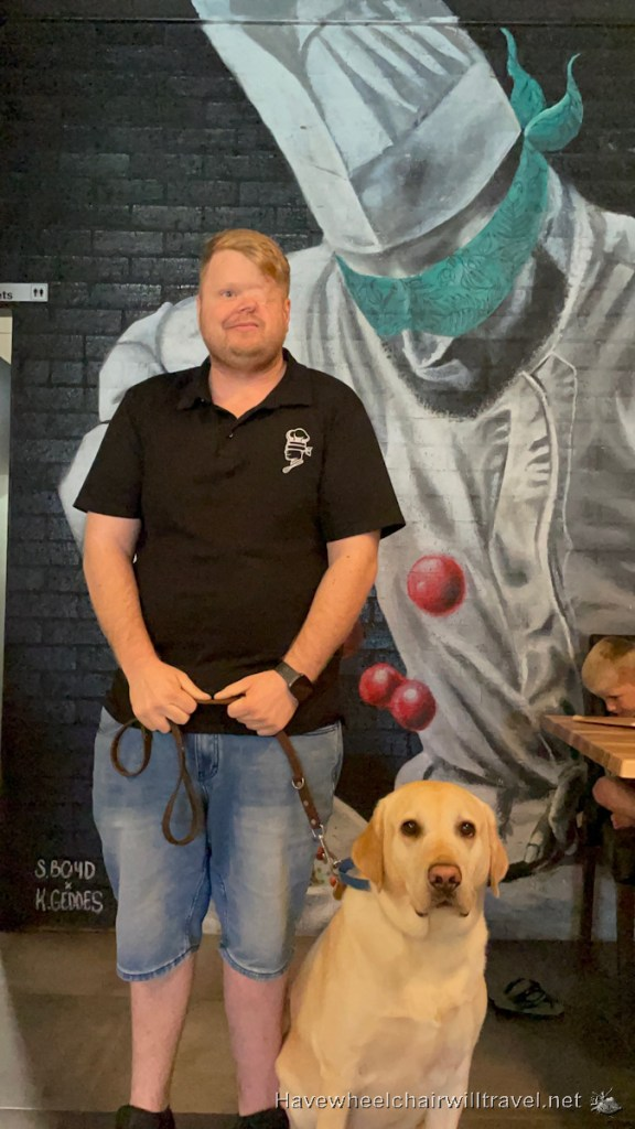 The Blind Chef Cafe & Dessert Bar- Craig & Guide Dog Rocko - Have Wheelchair Will Travel