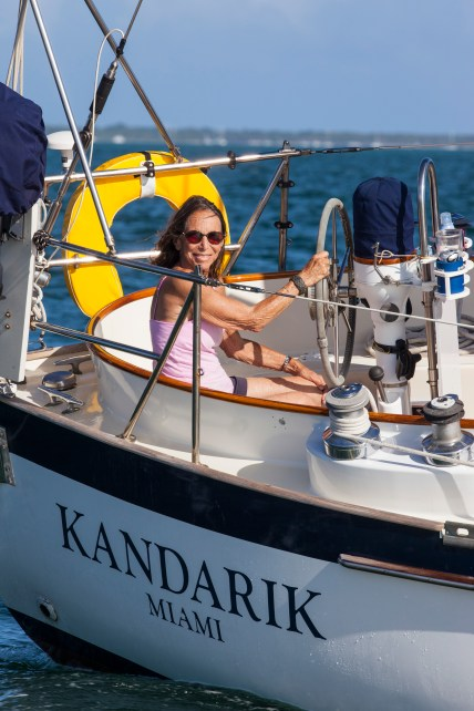 Pam Wall and Jaime Wall sailing onboard Kandarik in Biscayne Bay, FL.