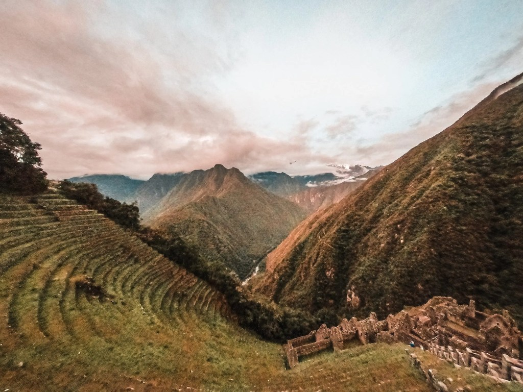 The view over the ancient Inca site of Winaywayna in Peru.