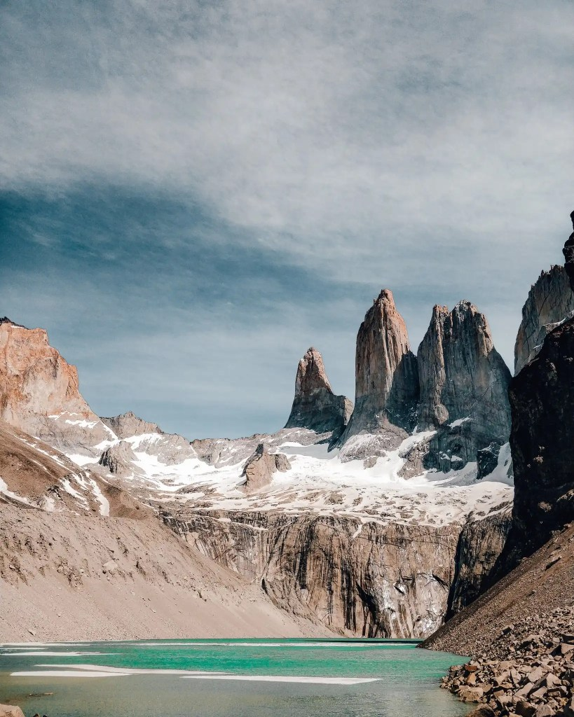 panorama of mirador las torres in torres del paine