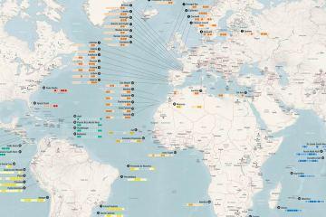 carte du monde de surf
