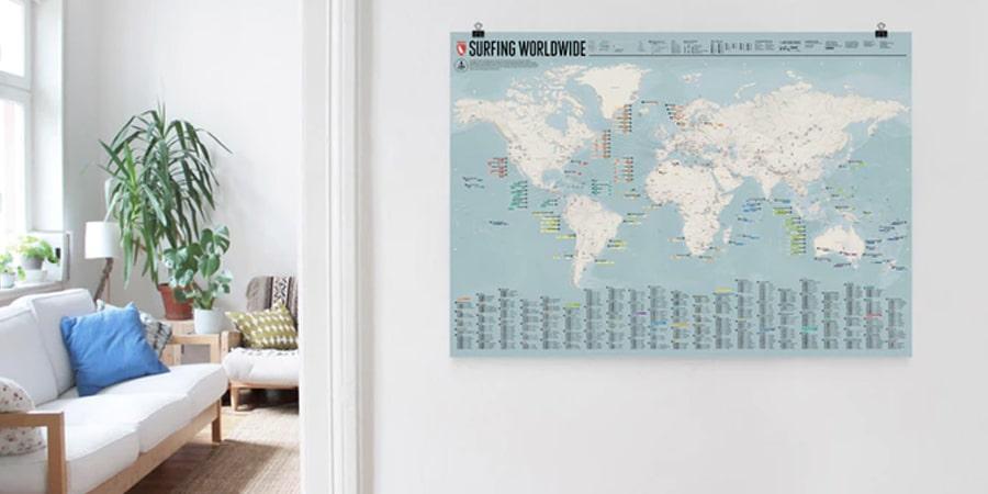 carte du monde surf